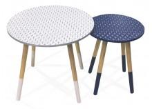 Table basse GIGOGNE Blanc et bleu