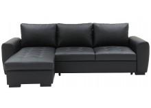 Canapé d'angle convertible avec coffre YORK Noir